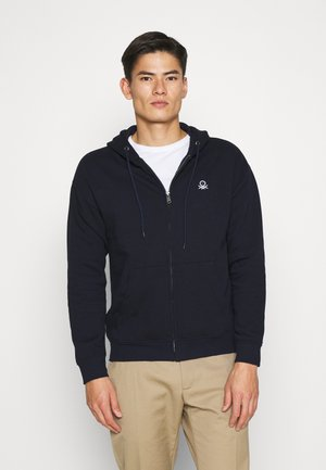 ZIP HOODIE CREW NECK - veste en sweat zippée - dark blue