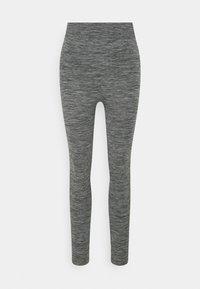 Zign - High waist ribbed seamless leggings - Leggings - Trousers - mottled dark grey - 0