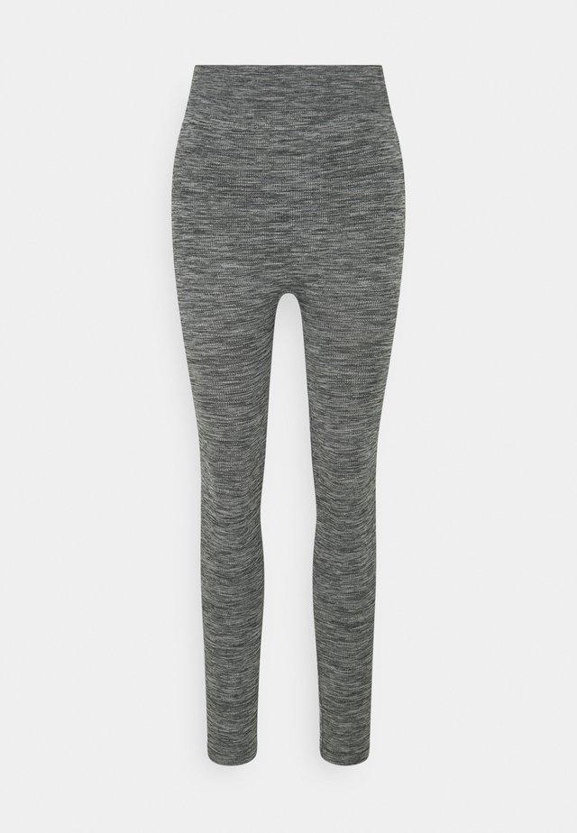 High waist ribbed seamless leggings - Legginsy - mottled dark grey