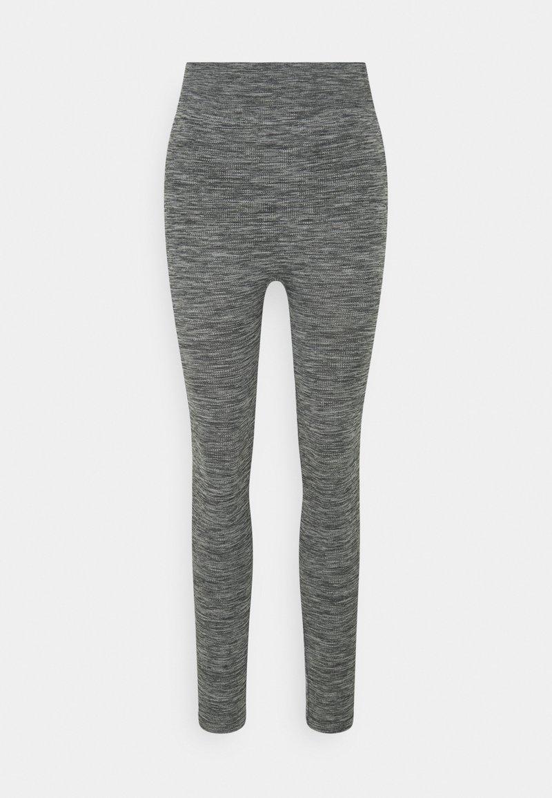 Zign - High waist ribbed seamless leggings - Leggings - Trousers - mottled dark grey