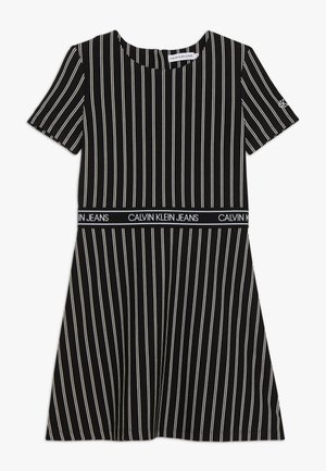 CITY STRIPE DRESS - Žerzejové šaty - black