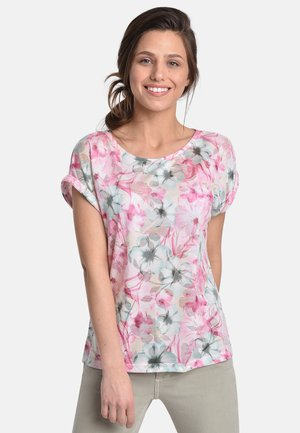 BLOOM - Print T-shirt - sand/pink/green