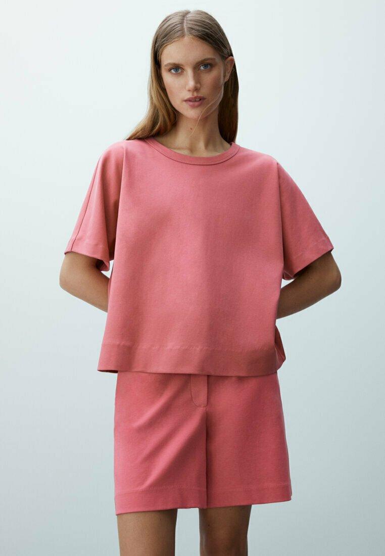 Massimo Dutti - Basic T-shirt - neon pink