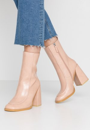 VEGAN  - High heeled ankle boots - light pink