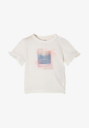 MIT RÜSCHEN - Print T-shirt - ecru