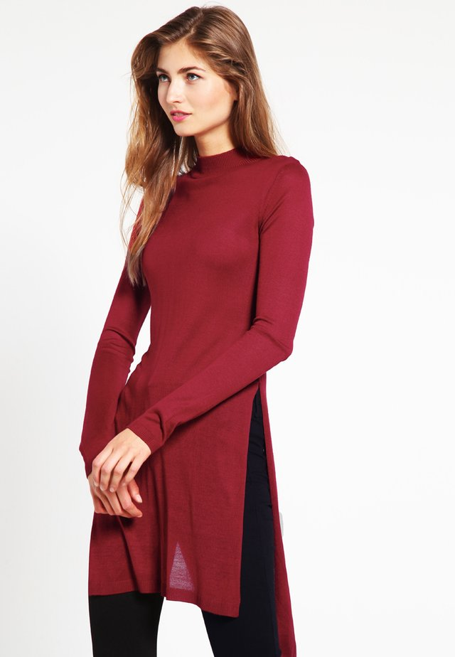LADIES FINE KNIT TURTLENECK LONG SHIRT - Jumper - burgundy