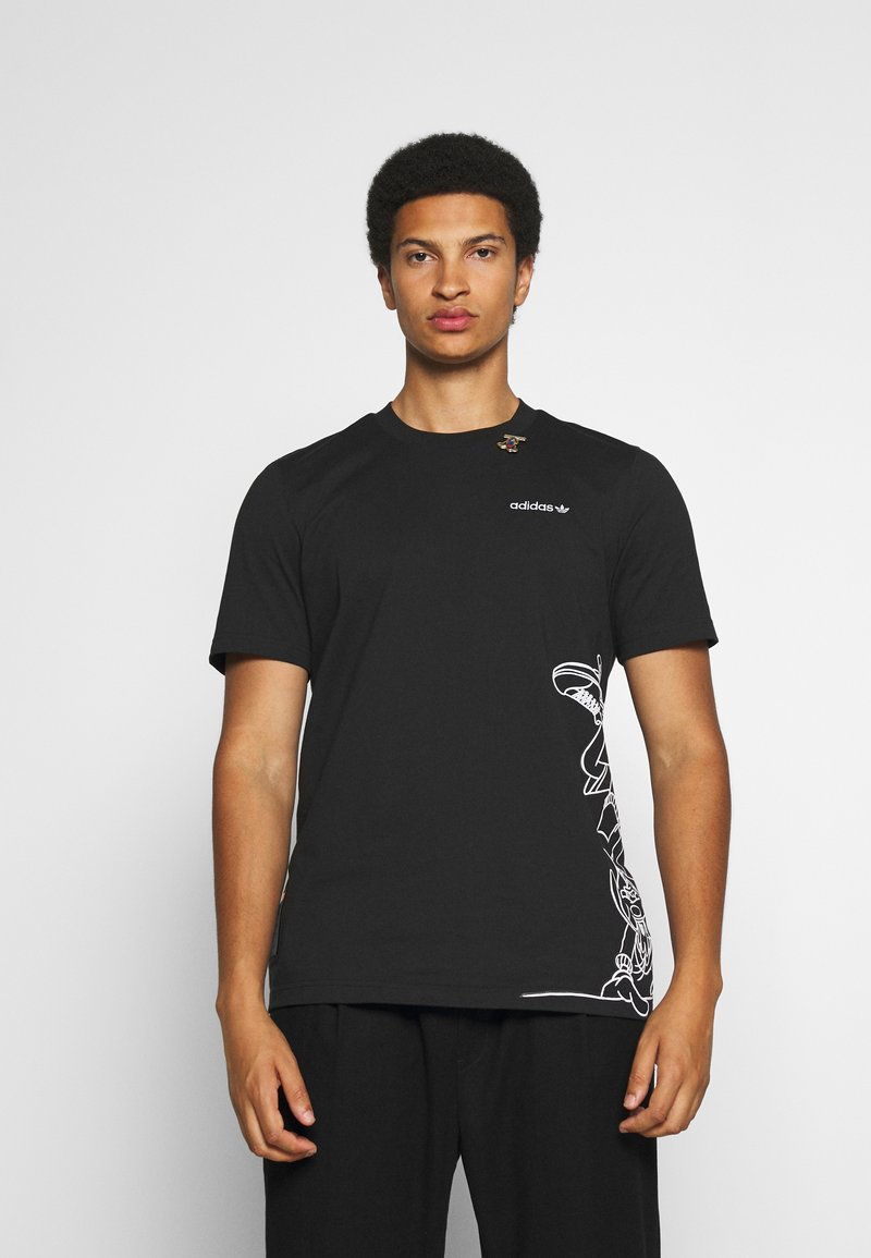 adidas Originals - GOOFY TEE - Print T-shirt - black/white