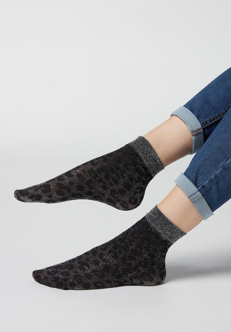 Calzedonia - Socks - schwarz spotted black silver glitter