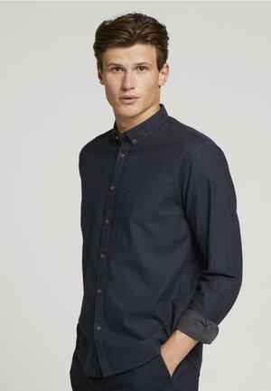 Shirt - navy tonal twill stripe