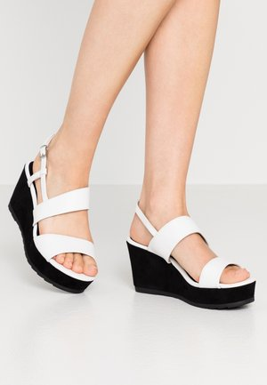 Platform sandals - white/black