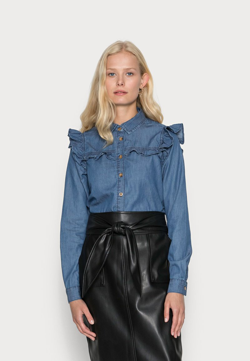 Springfield - CAMISA VOLANTES - Overhemdblouse - medium blue