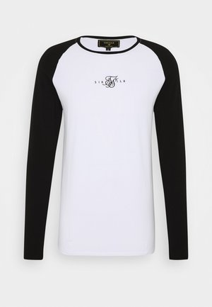 SQUARE HEM TEE - Long sleeved top - black/white