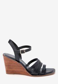 Next - TAN STRAPPY WOOD HEEL WEDGES - High heeled sandals - black - 4