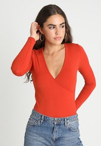 New Look - CARLY LONG SLEEVE WRAP BODY - T-shirt à manches longues - rust - 0