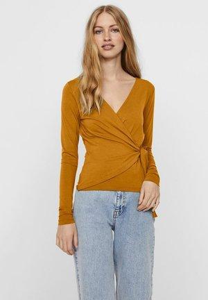 MIT LANGEN ÄRMELN WICKELEFFEKT - Long sleeved top - buckthorn brown
