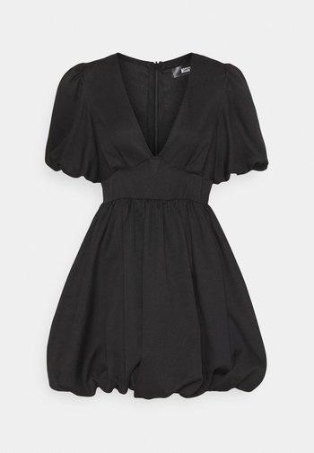 PLUNGE PUFFBALL SKATER DRESS - Day dress - black