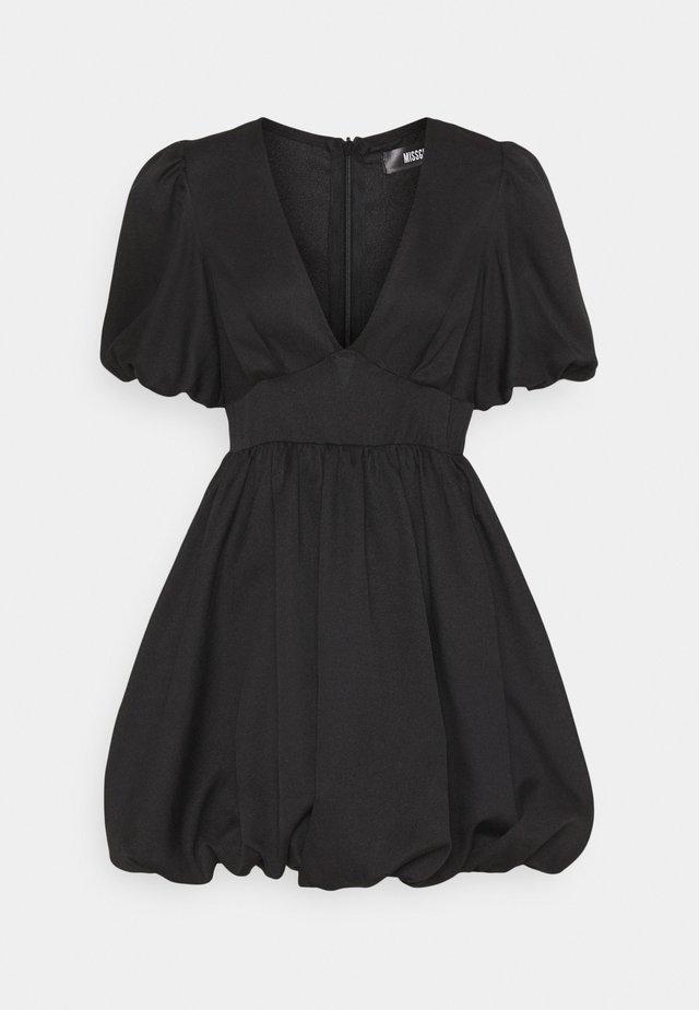 PLUNGE PUFFBALL SKATER DRESS - Korte jurk - black