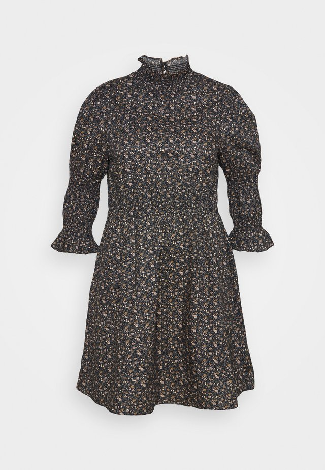 HIGH-NECK POPLIN DRESSES WITH PUFF SLEEVES - Day dress - multicoloured