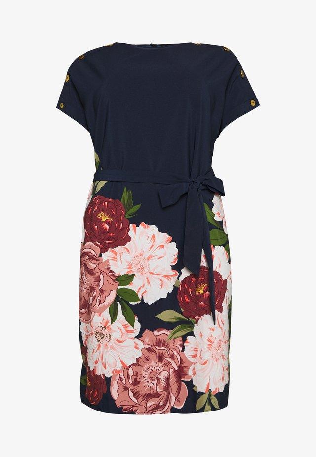 BUTTON SHOULDER SHIFT DRESS WITH BELT - Sukienka letnia - dark blue