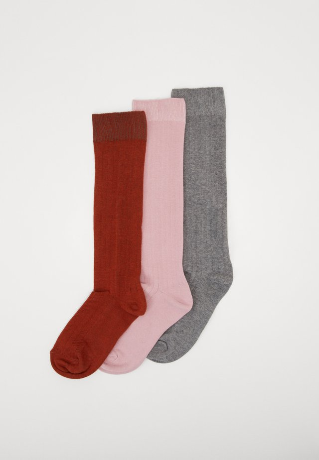 KIDS KNEESOCKS 3 PACK - Knee high socks - grau/kupfer/altrosa