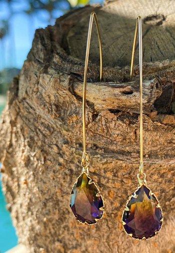 Earrings - paars geel