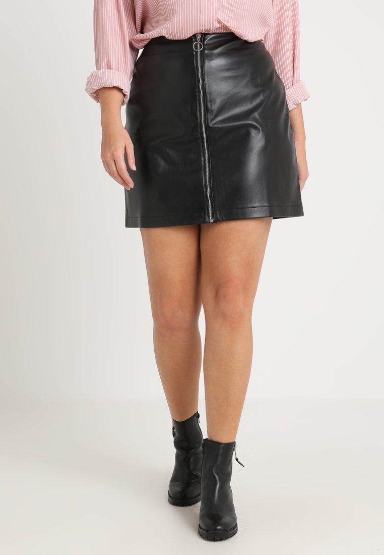 Urban Classics Curvy - LADIES ZIP SKIRT - A-line skirt - black