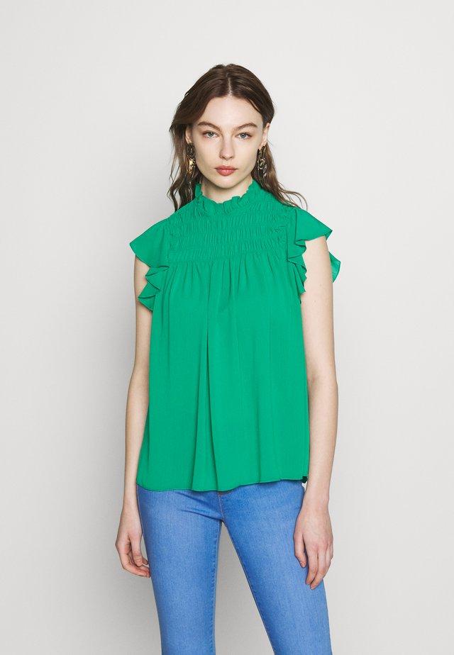 SHEERED RUFFLE TOP - Blouse - green