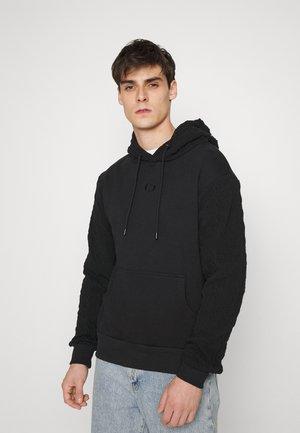 CABLE SLEEVE HOODIE - Sweater - black