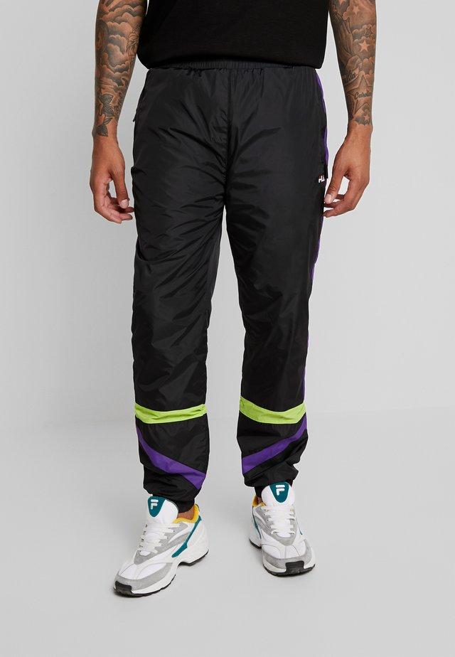 REIGN TRACK PANTS - Pantalones deportivos - black/tillandsia purple/acid lime