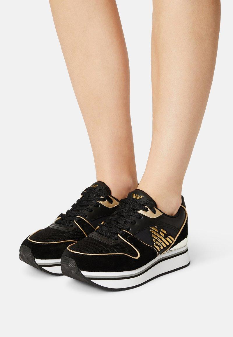Emporio Armani - Trainers - black/light gold