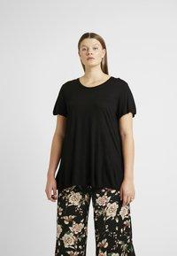 Kaffe Curve - KCANELI U NECK - T-shirt basique - black deep - 0