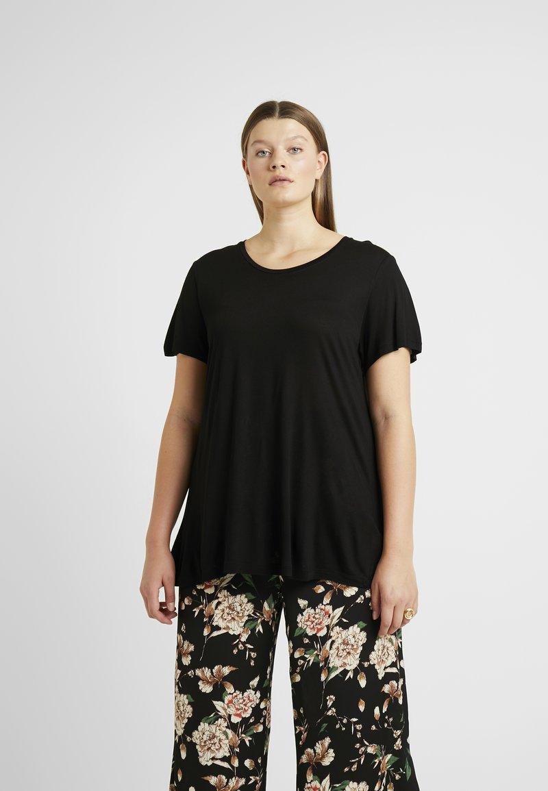 Kaffe Curve - KCANELI U NECK - T-shirt basique - black deep