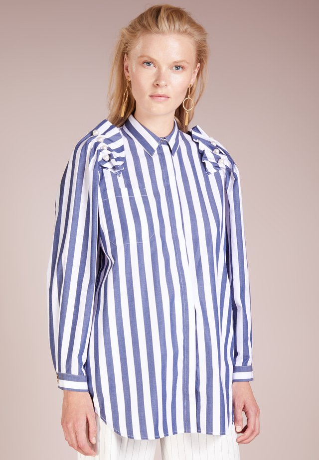 Button-down blouse - navy/white