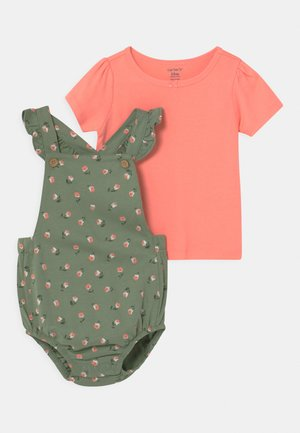 SET - T-shirt med print - khaki/light pink
