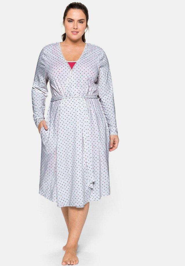 Dressing gown - grau meliert bedruckt