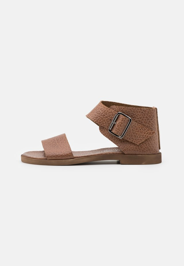CAROL  - Ankle cuff sandals - cognac