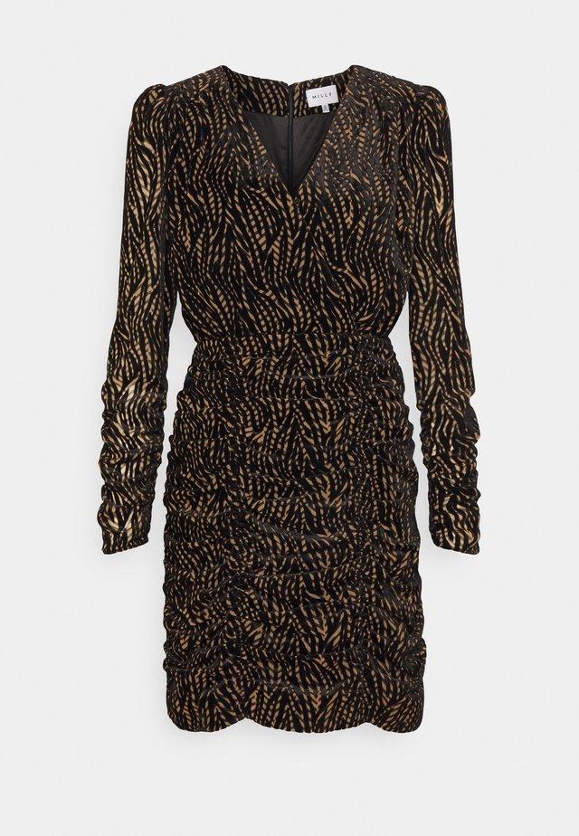 FINLEY LEAVES DRESS - Korte jurk - natural/black
