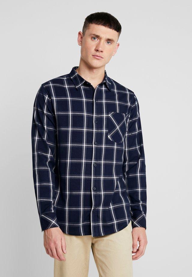 BASIC CHECK - Shirt - navy/white