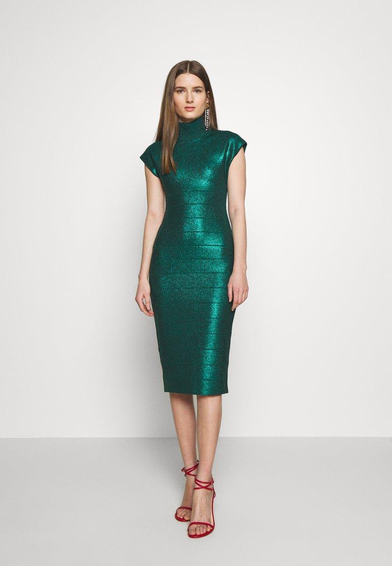 Hervé Léger - MOCK NECK DRESS - Sukienka etui - green