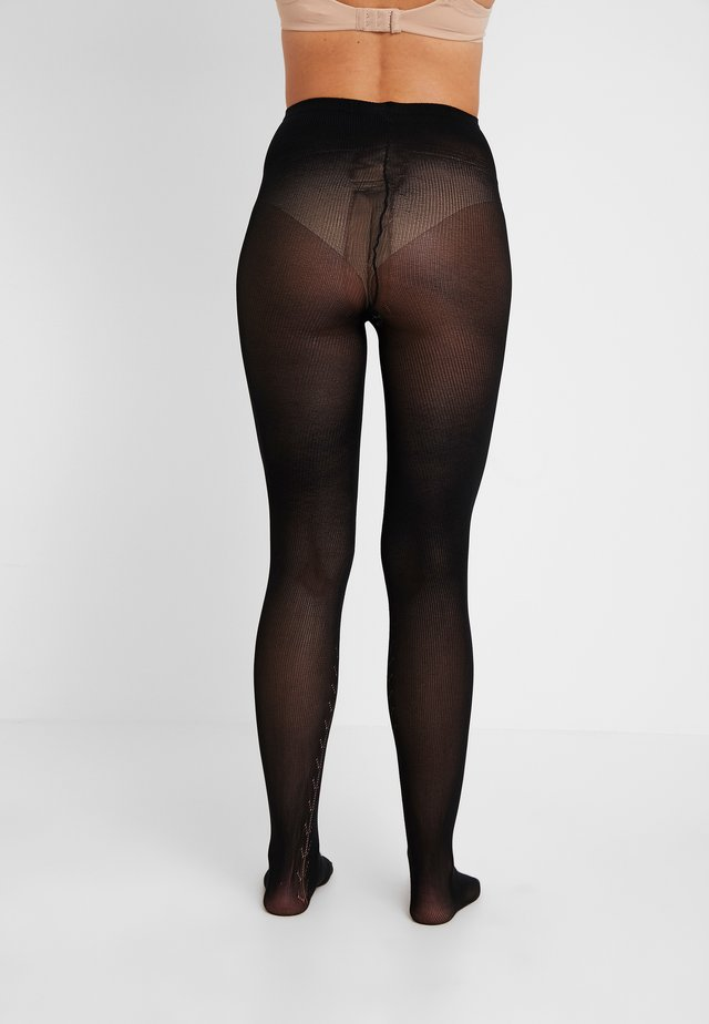 PATTERN BACKSEAM SOFT OPAQUE TIGHT - Rajstopy - black