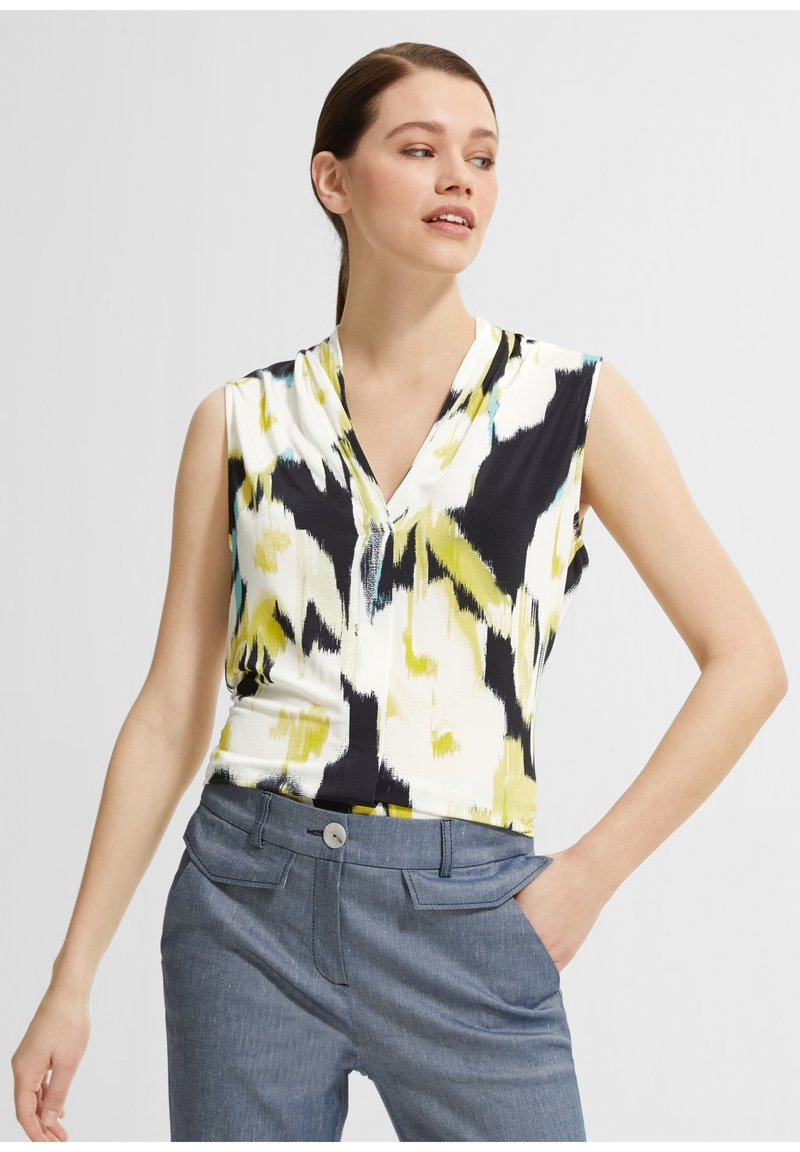 comma - Blouse - white/black/yellow