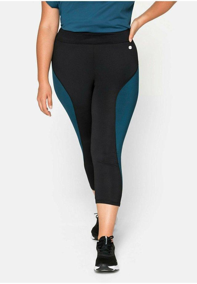 3/4 sports trousers - schwarz-petrol
