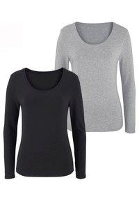 LASCANA - 2 PACK - Long sleeved top - grau-meliert+schwarz - 0