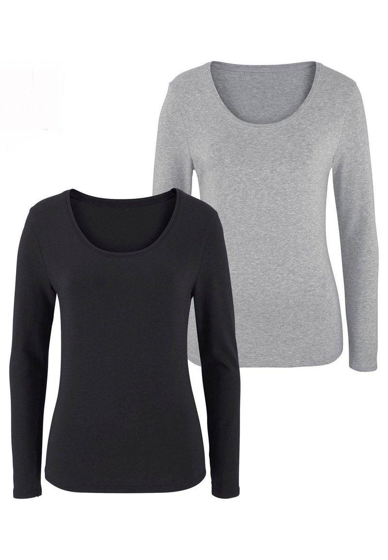 LASCANA - 2 PACK - Long sleeved top - grau-meliert+schwarz
