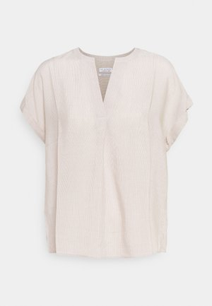 STRIPED BLOUSE WITH PLEAT - Blus - tobacco