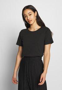 Even&Odd - BASIC ROUND NECK SHORT SLEEVES - T-shirts basic - black - 0