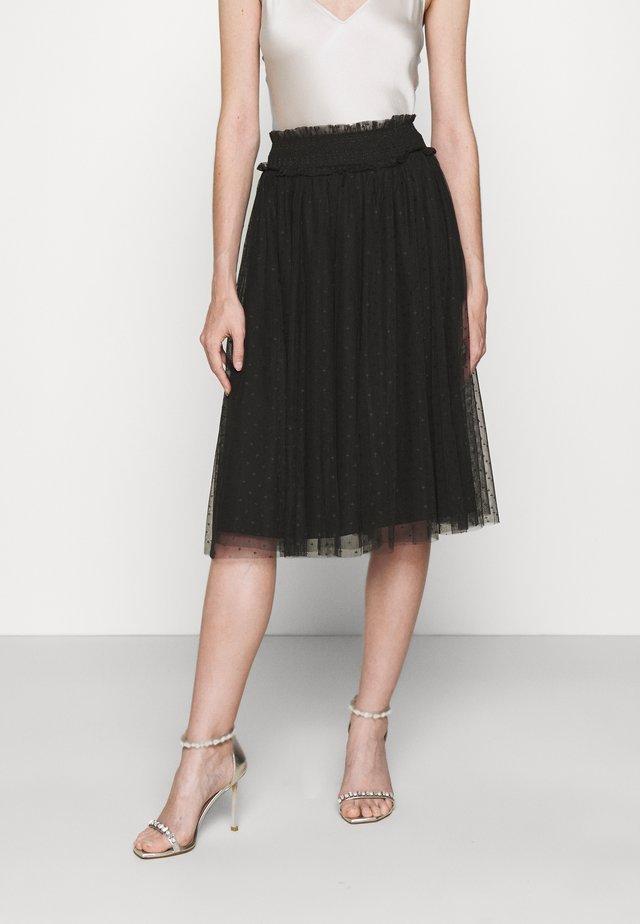 HONEYCOMB SMOCKED MIDI SKIRT EXCLUSIVE - A-line skirt - black
