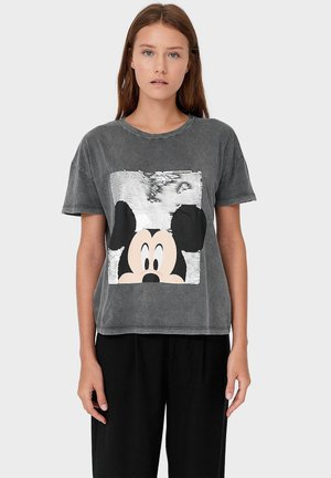 MICKY MIT PAILLETTEN - Print T-shirt - dark grey