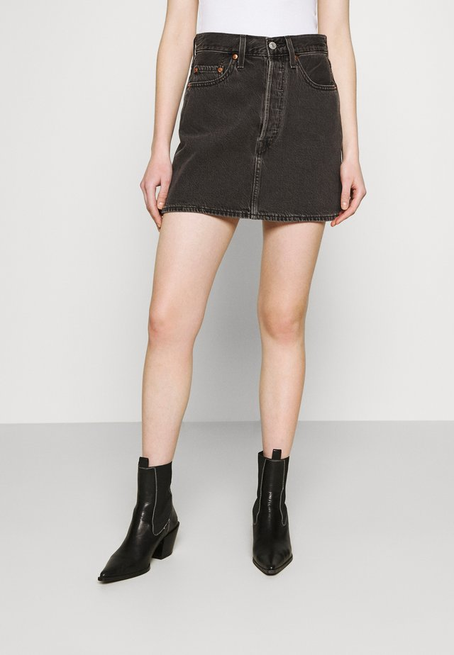 RIBCAGE SKIRT - Mini skirt - washed noir black