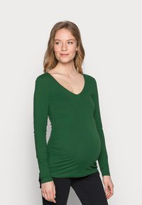 Anna Field MAMA - V NECK BASIC LONG SLEEVE TOP - Camiseta de manga larga - green - 0